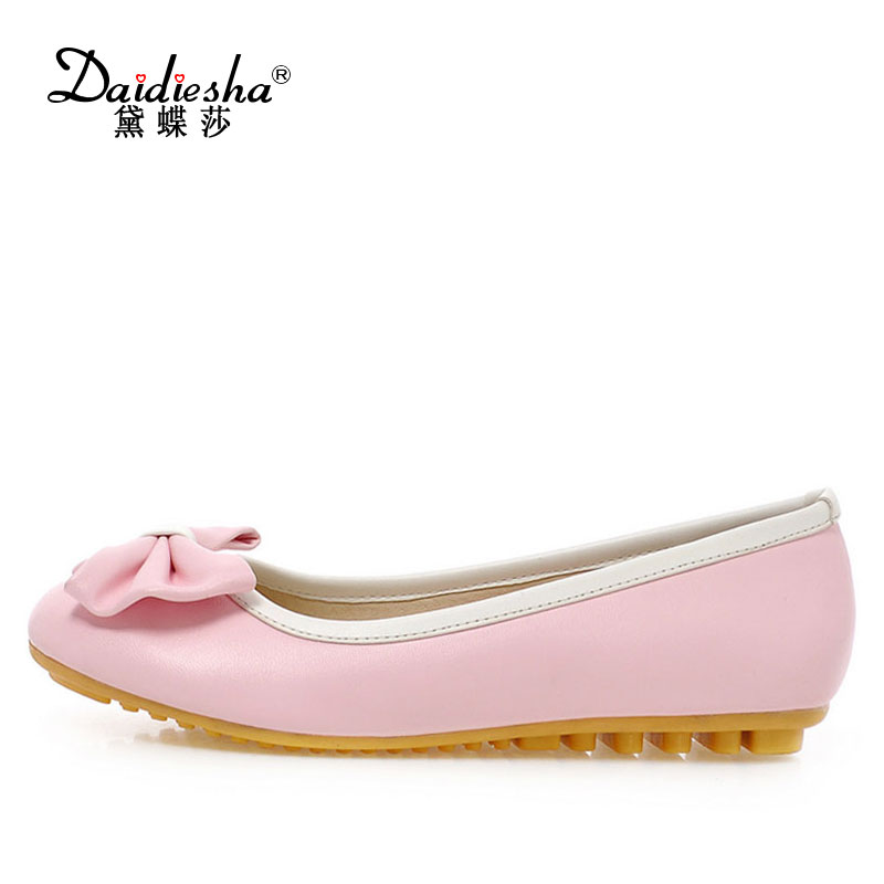 Daidiesha Spring Casual Women Soft Loafers Shoes Sweet Bow-knot Woman Flat Boat Shoes Slip-On Work Shoes Ladies Flat Footwear sweet women high quality bowtie pointed toe flock flat shoes women casual summer ladies slip on casual zapatos mujer bt123