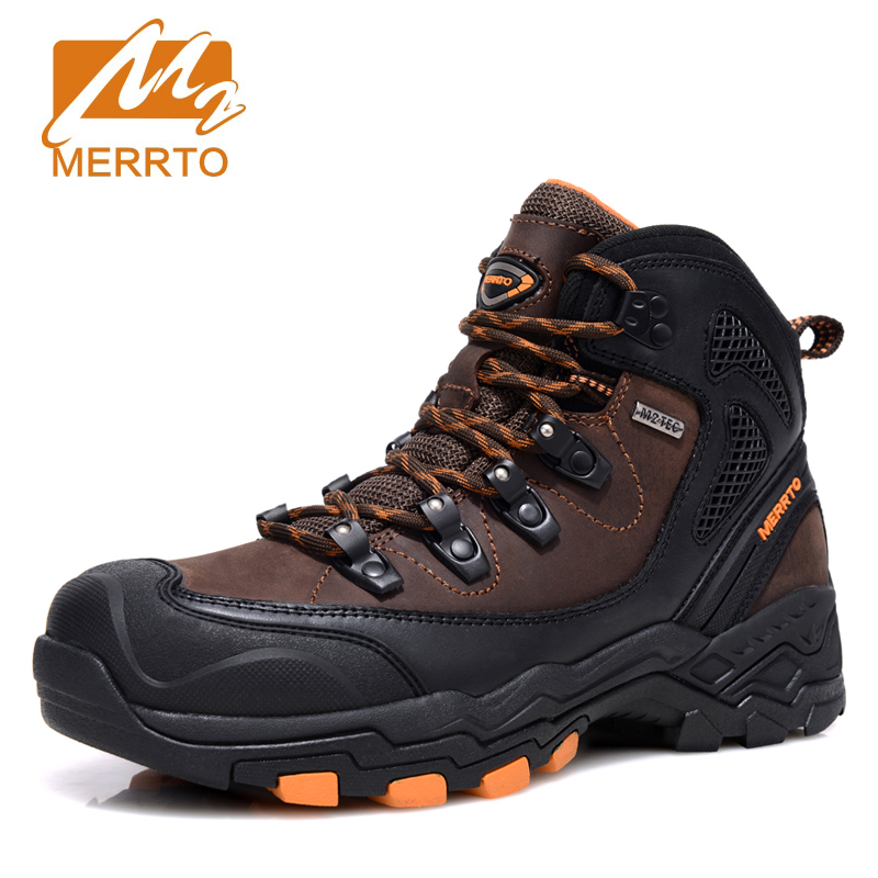 Merrto Outdoor Waterproof Hiking Boots For Men Breathable Shoes Hiking Genuinle Leather Trekking Boots Outdoor Sports Shoes Men 2018 merrto women hiking boots waterproof outdoor sports shoes full grain leather plus velvet for women free shipping 18001