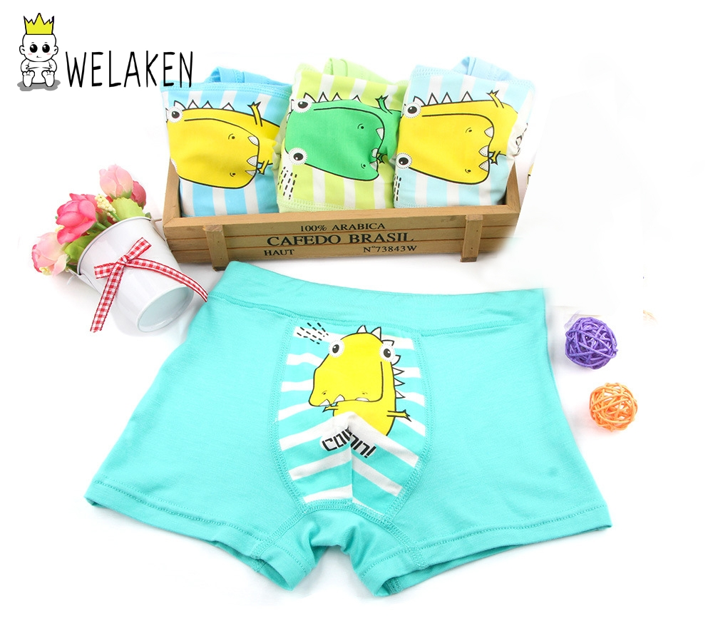 все цены на weLaken 4 Pcs/lot Cartoon Boys Underwear Soft Breathable Kids Boxer For 2-10Yrs Baby Panties Kawaii Panty Briefs Underpants
