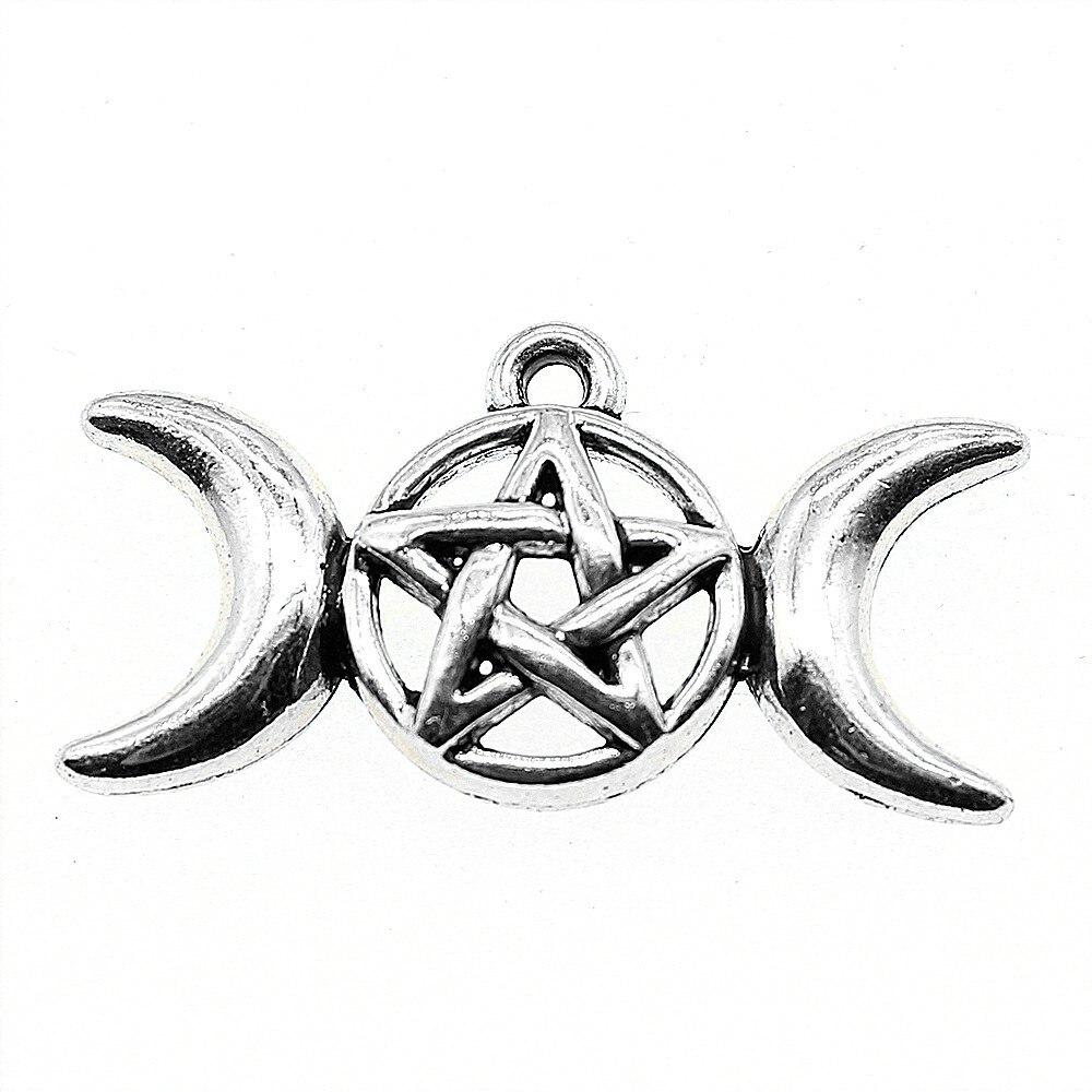 WYSIWYG 8 stücke 30x16mm Mond Göttin Sterne Charme Charme Für Schmuck Machen Antike Silber Mond Göttin Charms mond Göttin Sterne