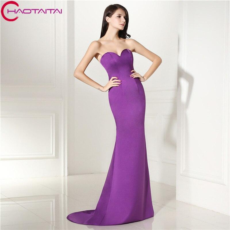 Простой Дизайн с плеча Милая рукавов Фиолетовый Атласное Вечернее платье Русалка Длинные атласные невесты вечернее платье