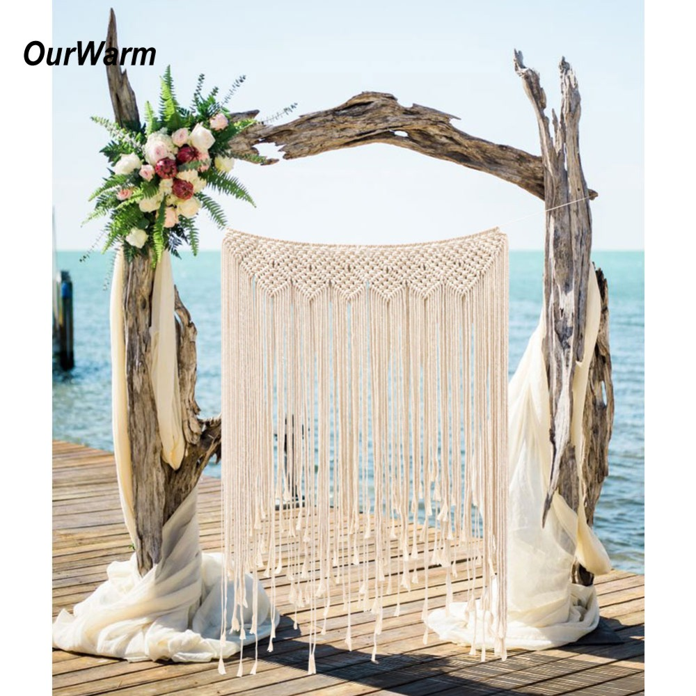 OurWarm DIY Boho Macrame Curtains Rustic Wedding Backdrop Wall Hanging Cotton Handmade Wedding Engagement Home Party Decoration