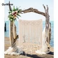 OurWarm DIY Boho Rustic Wedding Macrame Curtains Wall Photo Backdrop Handmade Cotton Summer Wedding Engagement Party Decoration