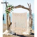 OurWarm DIY Boho Rustic Wedding Macrame Curtains Wall Photo Backdrop Hanging Cotton Handmade Wedding Engagement Party Decoration
