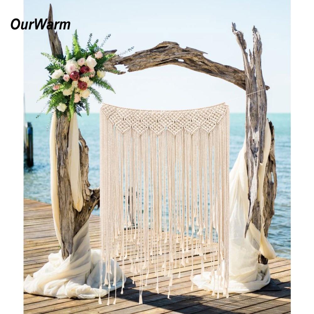 Ourwarm diy boho rústico casamento macrame cortinas parede foto pano de fundo artesanal algodão verão casamento festa de noivado decoração