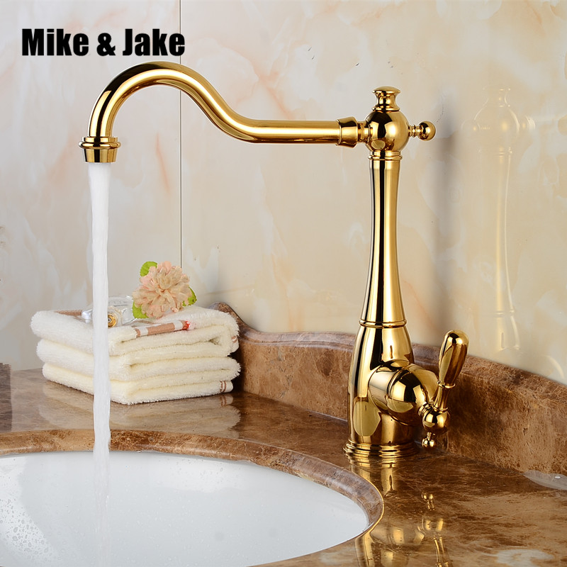 Solid Brass gold sink Kitchen Faucet basin sink faucet Kitchen Faucet Three Way Tap For Water
