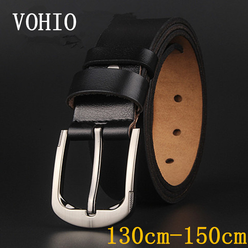 VOHIO High quality mens leather belt 130-150cm long Black, brown mans belt Pin buckle mens leather belts luxury jeans Wide 3.7