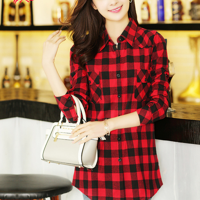 2015 Womens Fall Fashion Red Plaid Shirt Long Sleev Brand Designer Cotton Flannel Shirts for Girls Big Size XXL,XXXL