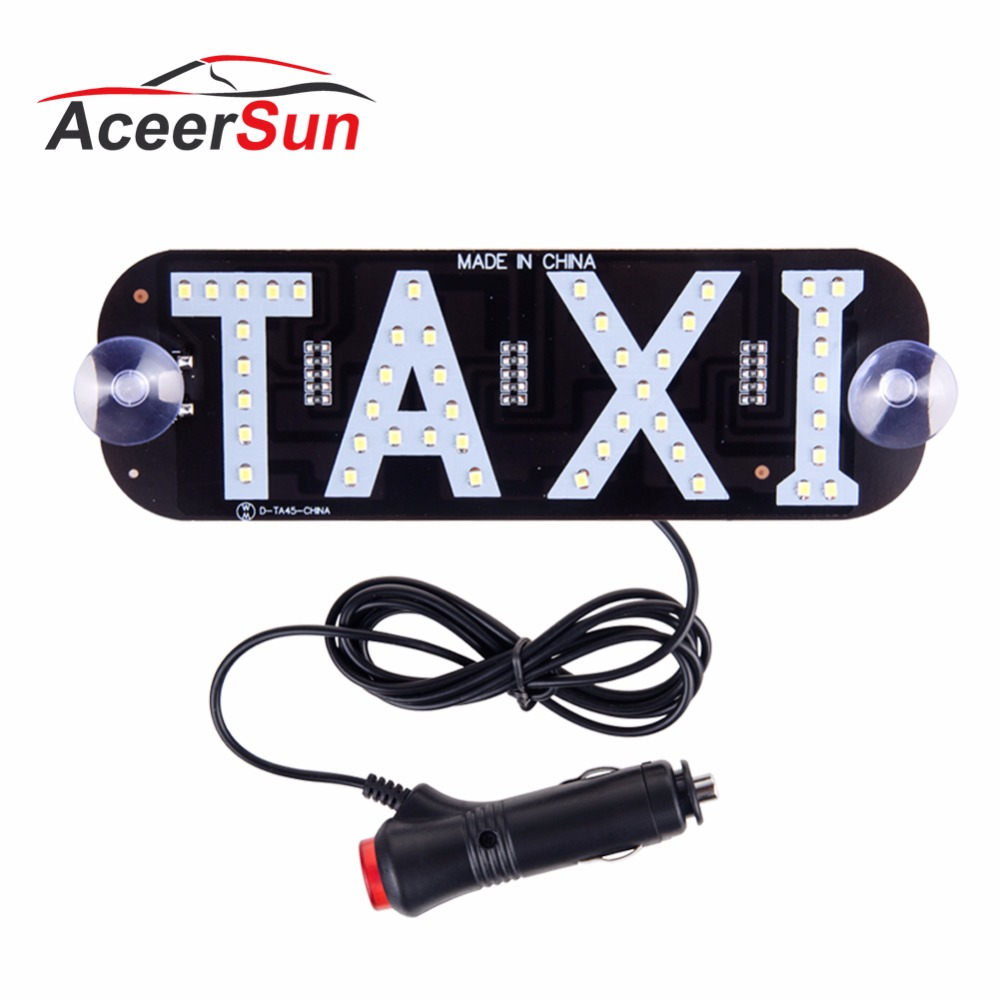 Aceersun LED Taxi signal light Super bright Car environment light letter TAXI With switch 2835 SMD