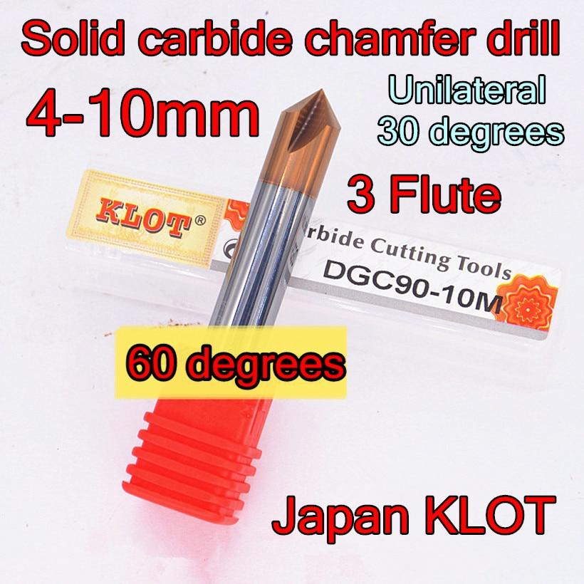KLOT Solid Carbide 60°//120° Degree Chamfer Drill 4mm-20mm Countersink Cutter K10