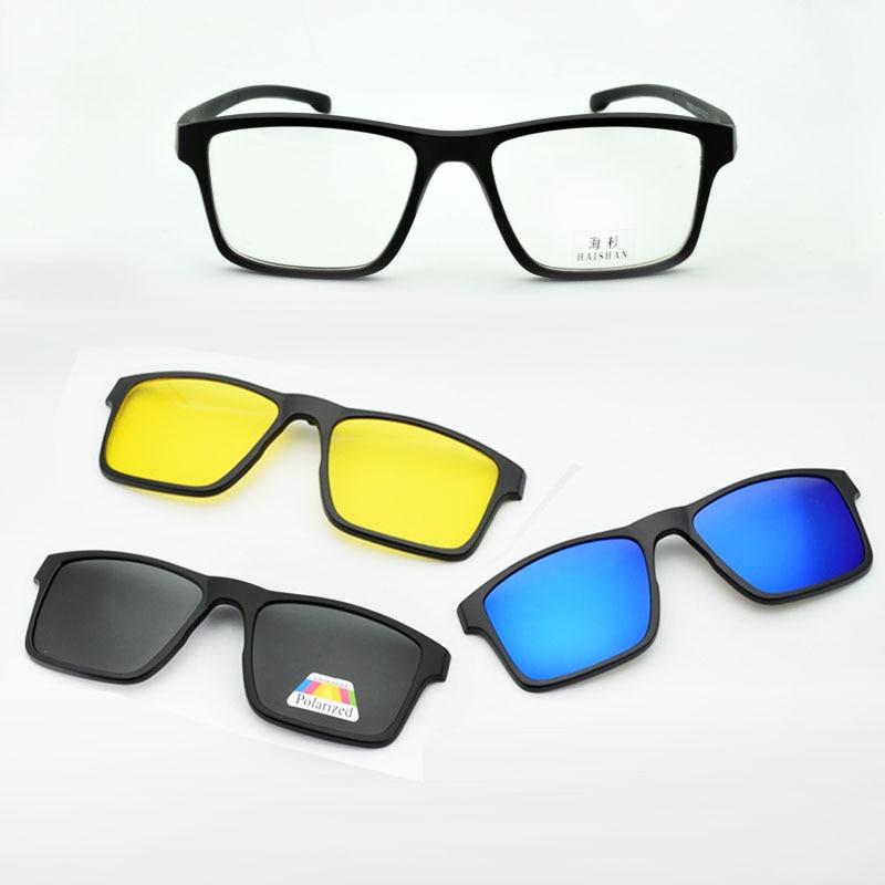 5ff5fadbe Óculos Óculos Full Frame Quadro Ímã Cinto Clipe Óculos de Miopia Óculos De Sol  Óculos Polarizados