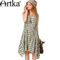 Artka Women S Summer New Plaid Patchwork Cotton Dress Fashion O Neck Sleeveless Mid Calf Irregular