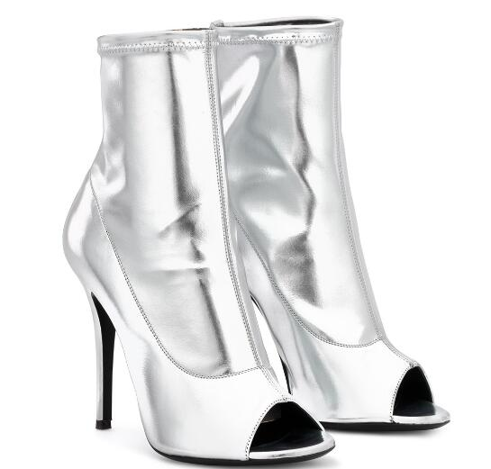 Gold/silvery/pink peep toe high heel ankle boots for woman Ladies open toe super high thin heel short boots Fashion boots new women platform super high thin heel ankle boots fashion black white orange round toe high heel short boots ladies party shoe