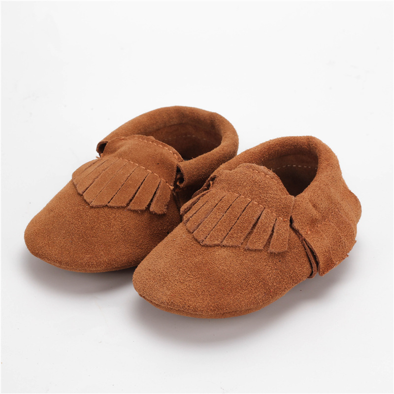Genuine Leather Baby Moccasins Fringe cowhide Baby Shoes indoor Chaussure Bebe newborn shoes First Walkers free shipping