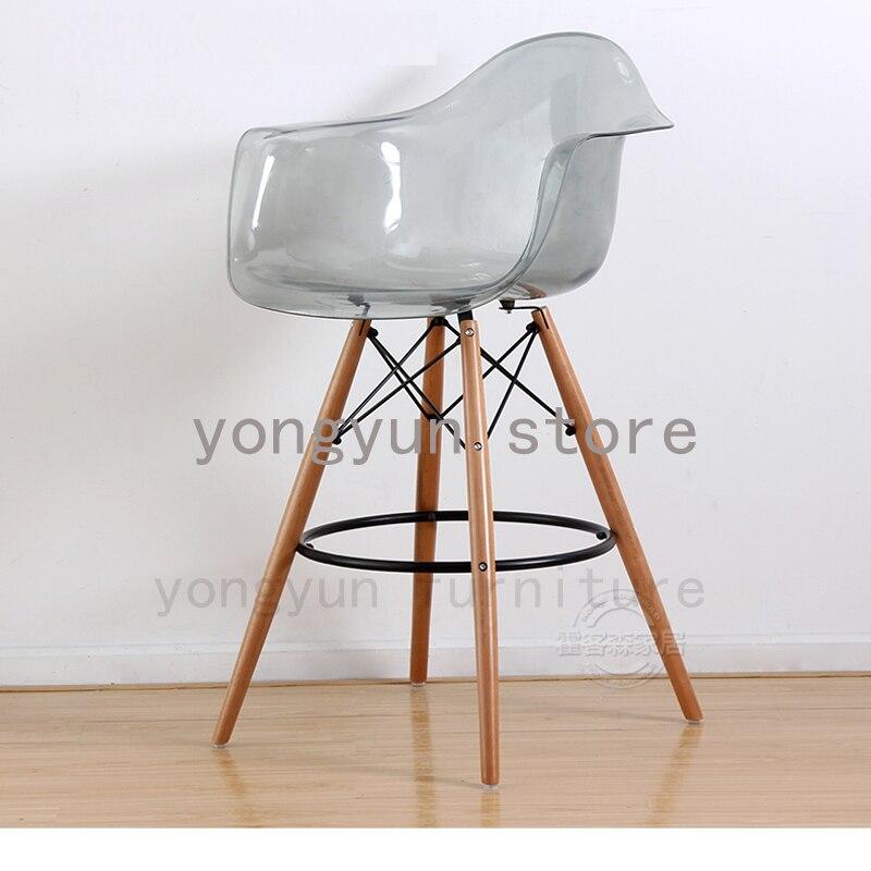 Modern Contemporary Urban Design Kitchen Dining Side Chair: Modern Design Transparent Bar Stool Wood Plastic Counter