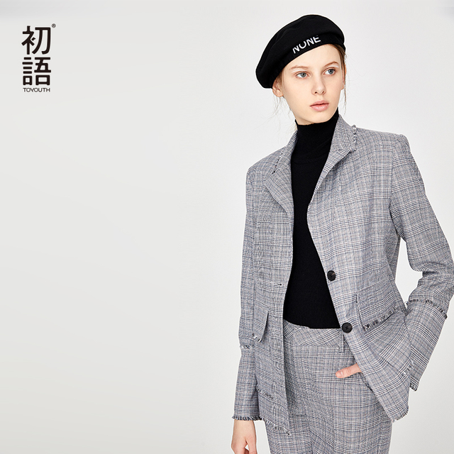 Toyouth Striped Woman Blazer And Jackets Formal Ladies Office Blazer Long Sleeve Jackets Button Coat Terninho Feminino Abrigos