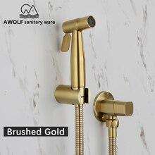 Hand held wc bidé pulverizador escovado ouro aço inoxidável bidé jet douche kit shattaf torneira lavadora de vaso sanitário limpeza ap2155