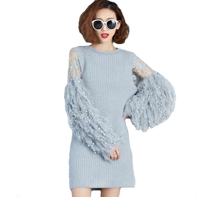 Plus Size Vestidos Women Winter Sweater Dress Ostrich Feather