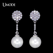 UMODE Popular Woman Long Vintage Bohemian Cluster Drop Earrings for Wedding & Party with CZ Stones and Simulated Pearl UE0120(China)