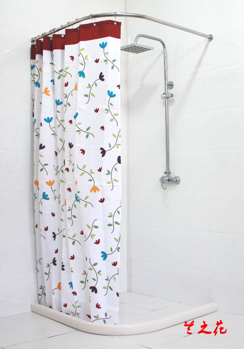 Valor de ba o 304 de ducha curva ducha barra de la cortina de retenci n secci n s lido anillo de - Cortina bano curva ...