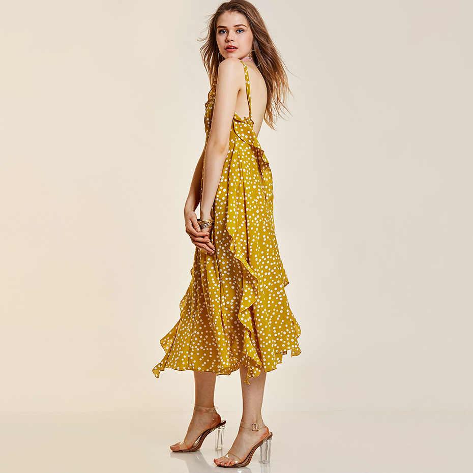 c30dc7324db ... Женское платье с открытой спиной и рюшами в желтый горошек ретро  пэчворк Повседневное платье миди летнее ...
