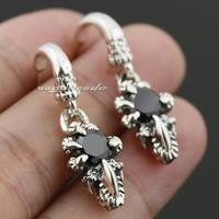 925 Sterling Silver Dragon Claw Hold Black CZ Mens Biker Stud Earring 8R007 Pair