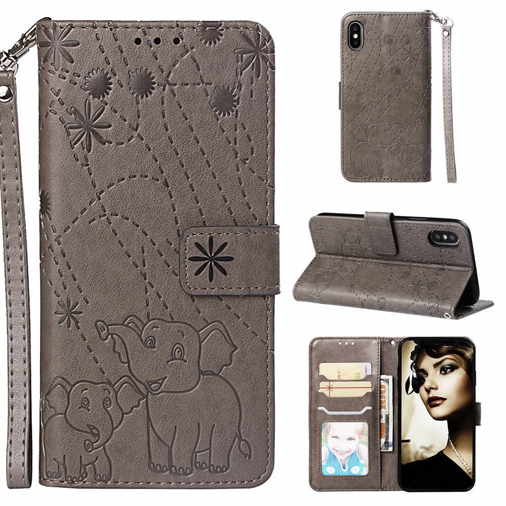 Flip Leather Book Phone Case Shell for iPhone X XS MAX XR 5 5S SE 6 6S 7 8 Plus Fireworks Elephant Texture Wallet Card Pocket