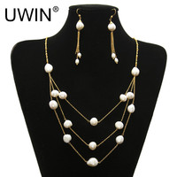 Women Fashion Pearl Jewelry Set Stainless Steel Gold Chain With Real Natural Freshwater Pearl Multilayer Necklace