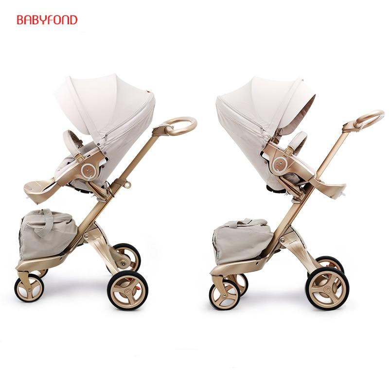 Free ship! Free Gifts! Original EU 2 in 1 baby stroller baby high landscape folding strollers send free gifts black frame ...