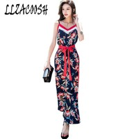 Print Wide Leg Cami Jumpsuit 2018 Women V Neck Spaghetti Strap Bow Belt Sleeveless High Waist