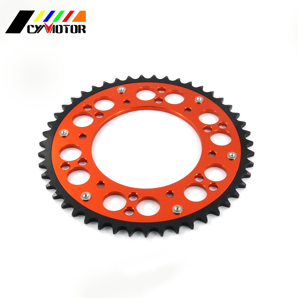 Motorcycle 44 46 47 48 49 50 51 52 Rear Chain Sprocket For KTM EXC EXE SX MX SXF XCW SMR LC4 125 150 200 250 300 350 380 400 motorcycle 44 46 47 48 49 50 51 52 rear chain sprocket for kawasaki kx125 kdx200 kx250 kx500 kx klx kdx rmz 125 200 250 500