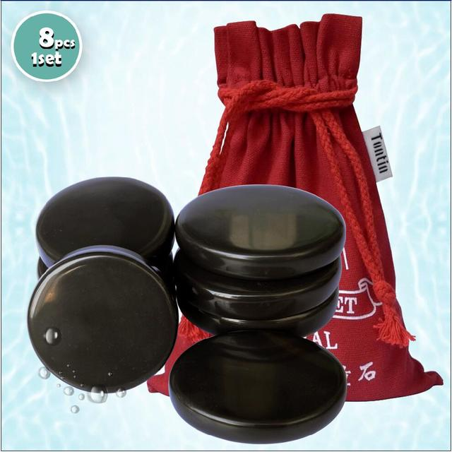 Tontin Hot massage 5A bian stone brown color stone Beauty Salon SPA tool thickened canvas bag CE and ROHS 8pcs/set