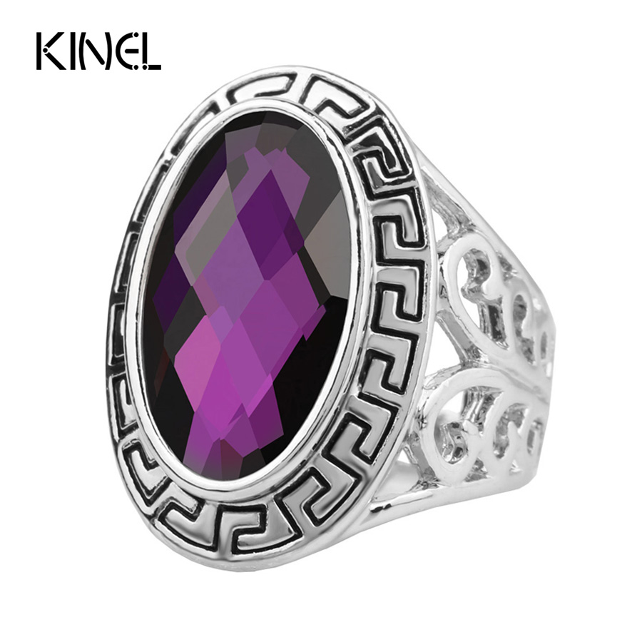 luxury vintage purple big ring plating silver oval