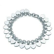 SHINETUNG 1:1 TIFF 925 Sterling Silver Wedding Party TIFF Bracelet Heart-Shaped Classic Bracelet For Women Birthday Party Gift classic heart pattern bracelet for women