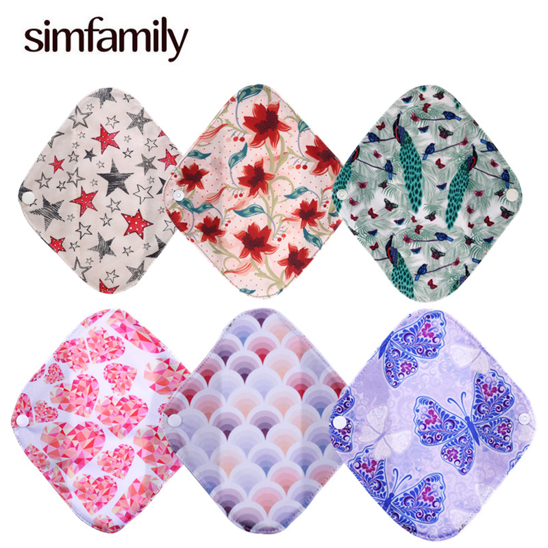 [simfamily]5PC Reusable Bamboo Charcoal Cloth Panty Liner,Mixed Color,Women Feminine Hygiene Menstrual Sanitary Pads Wholesales