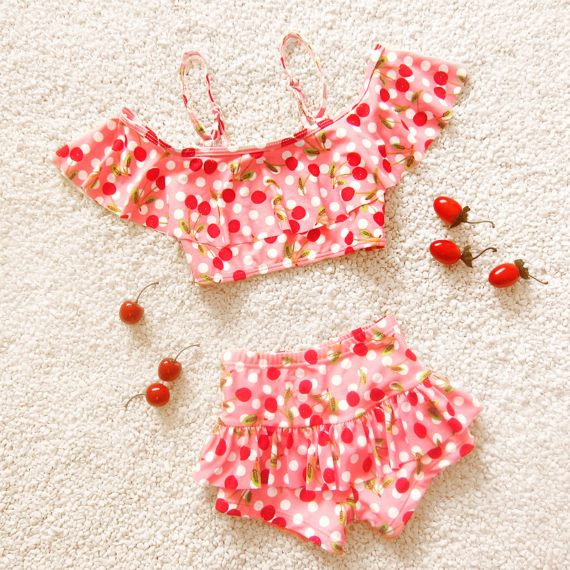 Hot Girls Lovely Cherry Pattern Bikinis Set Print 4 Colors Swimsuit Swimwear Cute Skirt Type Baby Bathing Suit Dancing Clothing пуф dreambag круг cherry