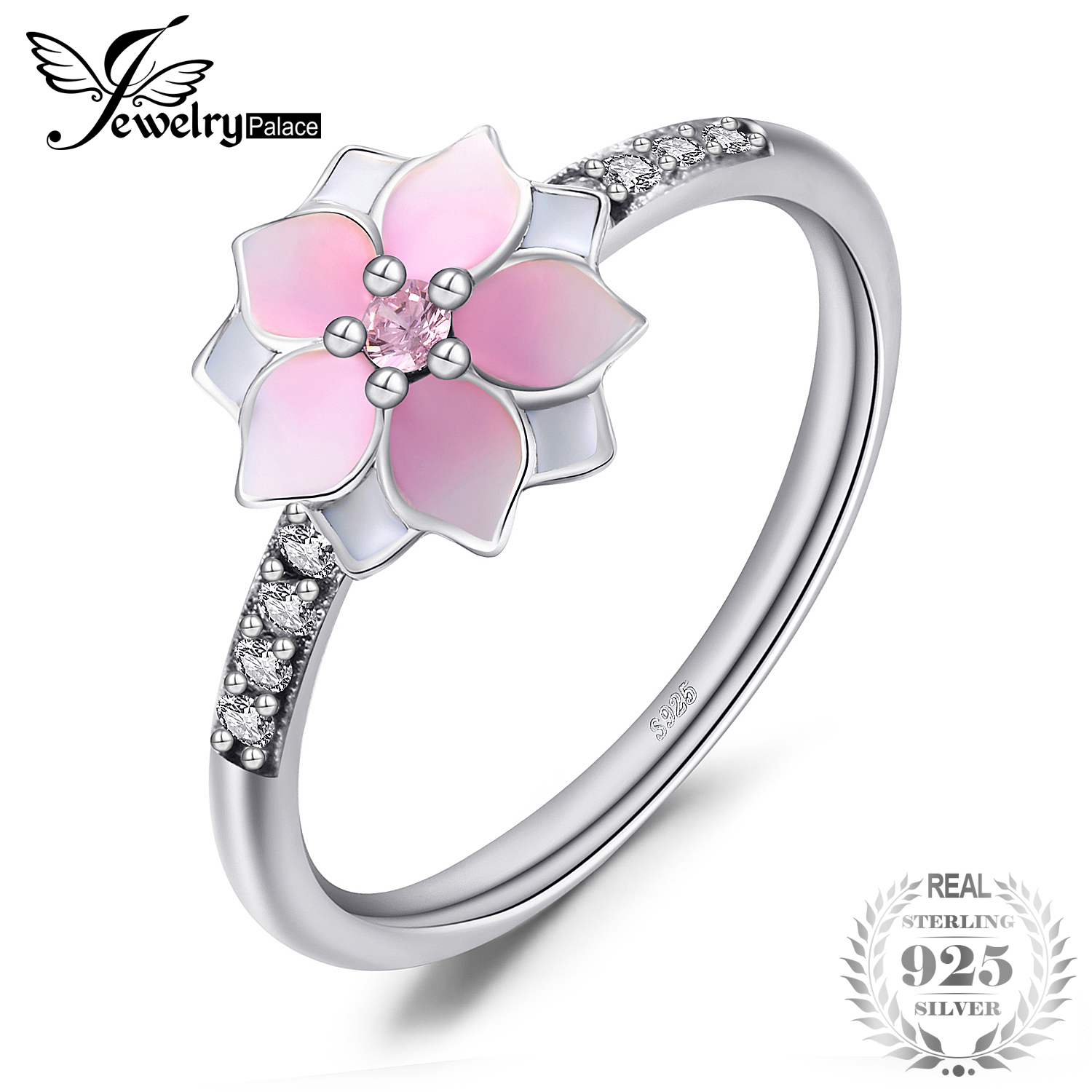 Jewelrypalace 925 Sterling Silver Rings Flower Magnolia Cubic Zirconia Gradient Pink Enamel Cocktail Ring Fine Jewelry GiftsJewelrypalace 925 Sterling Silver Rings Flower Magnolia Cubic Zirconia Gradient Pink Enamel Cocktail Ring Fine Jewelry Gifts