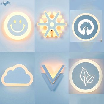 Modern LED Wall Lights Leaves Smiles Snowflakes Clouds Wall Lamps Bedroom Living Room Corridor Balcony Decorative Light Fixtures