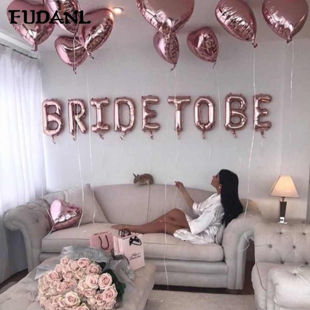 16inch Rose Gold Bride To Be Letter Foil Balloon Love heart Balloons Hen Party Decorations Wedding Bachelorette Party Supplies