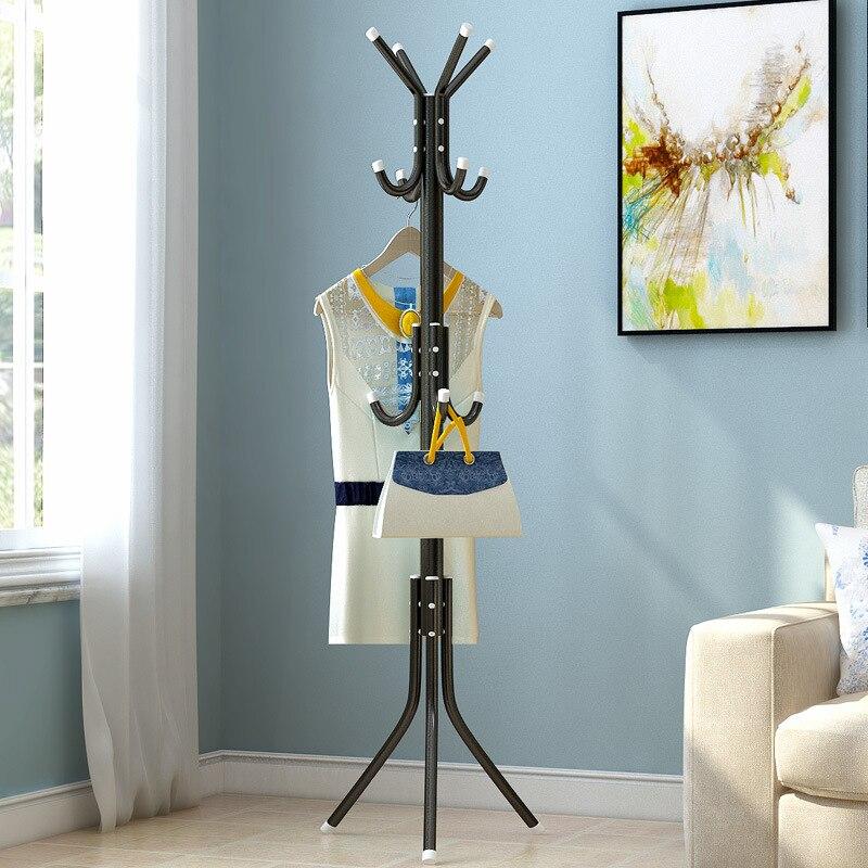 Simple Floor Coat Rack Office Wrought Iron Clothes Hat Hanger Bedroom Vertical Clothes Rack Creative Hall Hanger