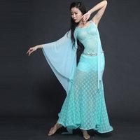 New Gazue Long Irregular Sleeve Lace Modal Sexy Belly Dance One Piece Dress For Women Female