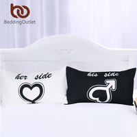 BeddingOutlet His And Her Side Pillow Cases Couple Pillowcases Back And White Pillow Cover For Gift