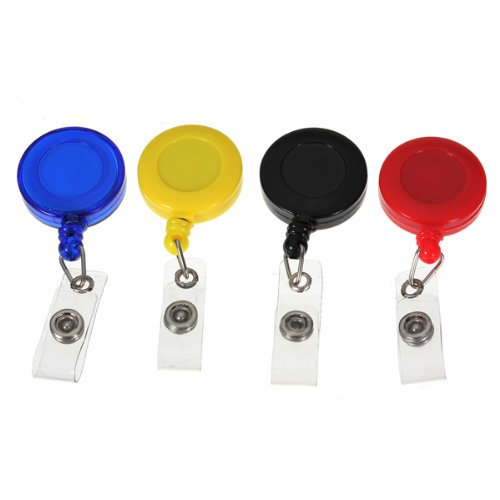 Set Of 4 Pcs Retractable Reel Badge Holder YOYO Clip Snap Button ID Card Key