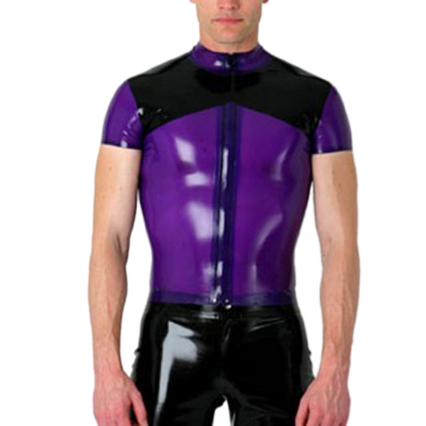 Latex Rubber Shirt Front Zipped Latex Costumes For Men