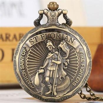 YISUYA FOB Watch Firefighters Defensor Sankt Florian Quartz Analog Pocket Watch Chain Vintage Gift Unisex relogio de bolso