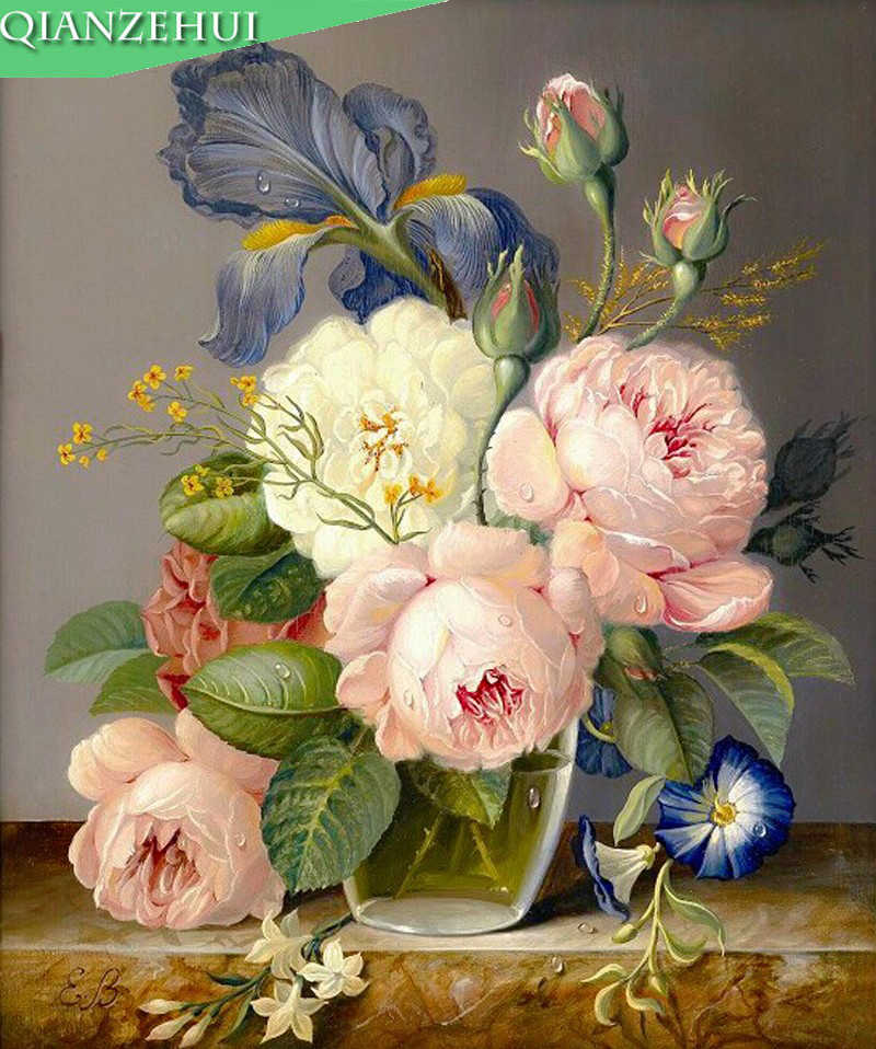 QIANZEHUI,Needlework,DIY Precision printing Peony flower vase Cross stitch, oil Painting For Embroidery kits Cross-Stitching