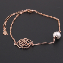 2017 New Arrival Hollow Rose Anklet Jewelry pulseras tobilleras imitation Pearl anklets for women girl gift chaine cheville