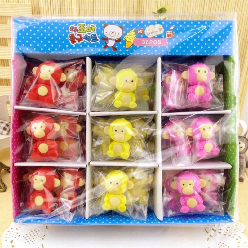 Купить с кэшбэком 1Pcs/Lot Cute Little monkey Eraser Rubber Stationery  Creative kawaii School Supplies learning office supplies Free shipping