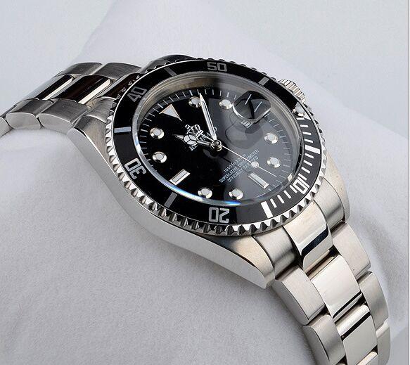 Luxury HK Crown Famous Brand Quartz Calendar Digital Male Casual Fashion Man Clock Black Stainless Steel Water Resistant Watches