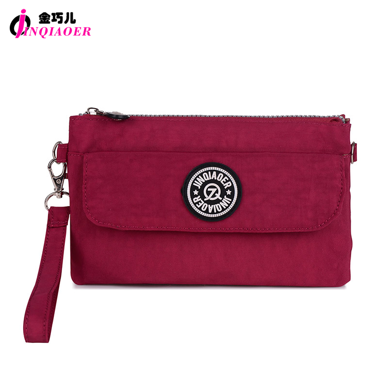 JINQIAOER Brand Nylon Wallet Double Layer Zipper Coin Pocket Organizer Purse Hand Bag Wristlet Clutch Slim Wallet For Girl double layer zipper wallet coin purse cell phone storage pouch bag w hand strap deep pink page 6